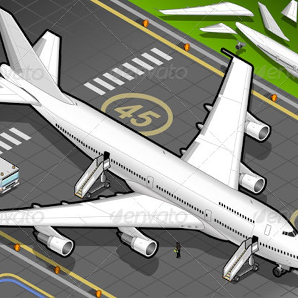 Isometric White Airplane in Front View