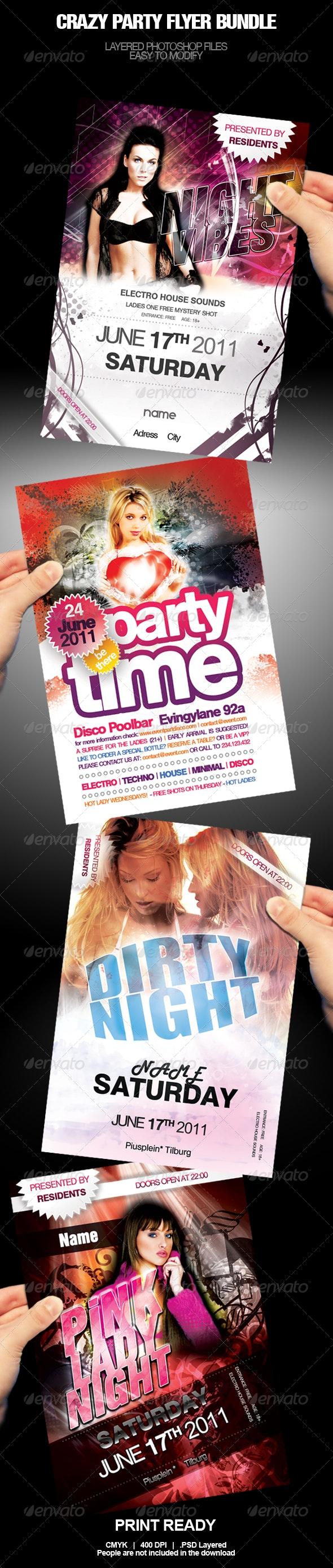 Crazy Party Flyer Bundle - Clubs & Parties Events