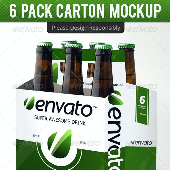6 Pack Carton Mock Up