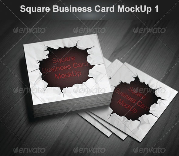 Square Business Card MockUp 1 - Business Cards Print