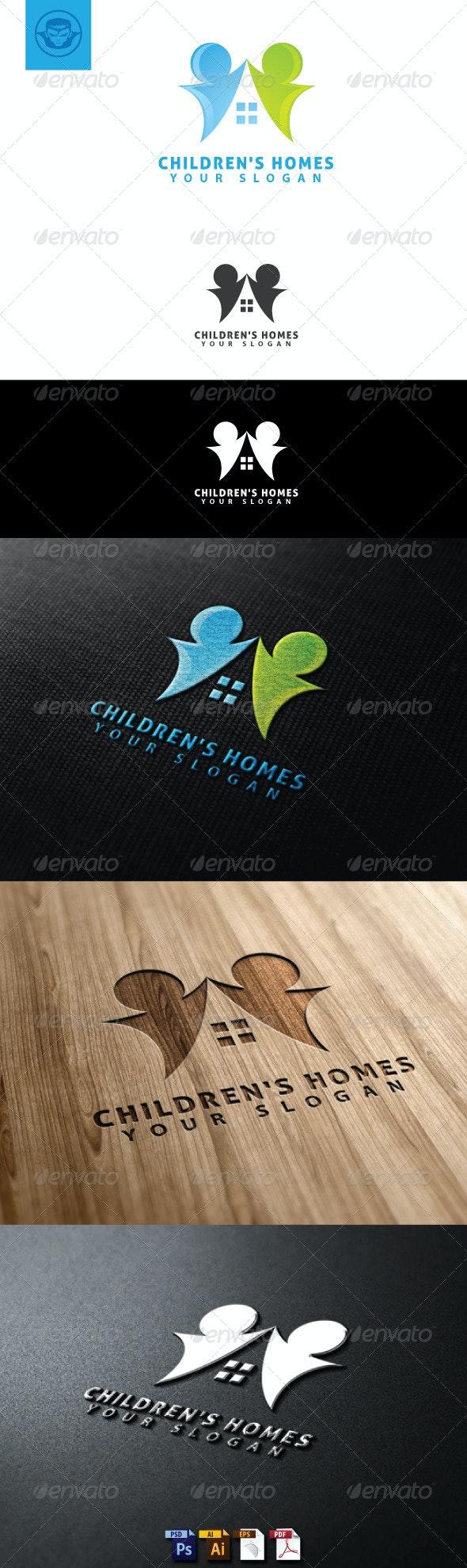 Children Homes Logo Template - Humans Logo Templates