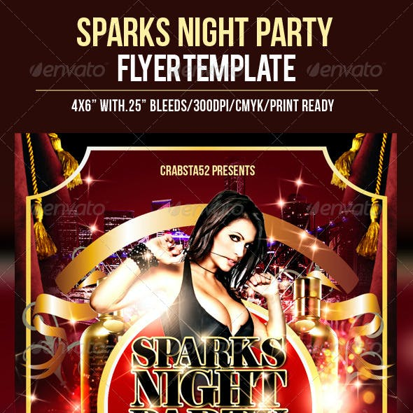 Sparks Night Party Flyer Template