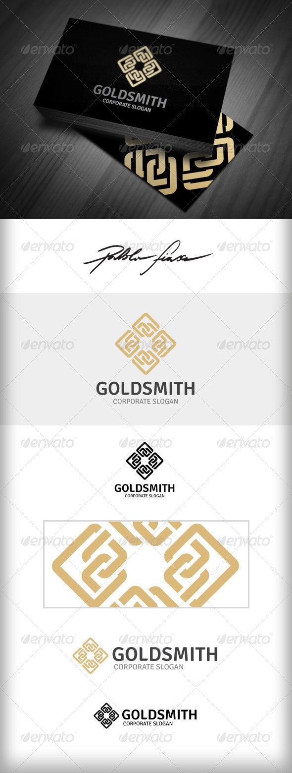 Golden Chain - Abstract Infinity Interlocking Logo - Symbols Logo Templates