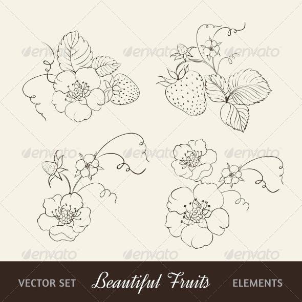 Strawberry Elements on Sepia Background.