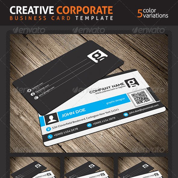 Creative Corporate Business Card With QR Code