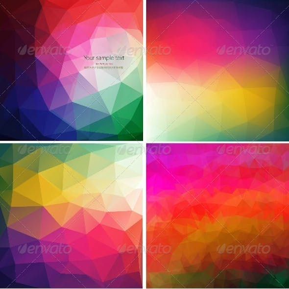 Set of Four Colorful Abstract Geometric Backgrounds