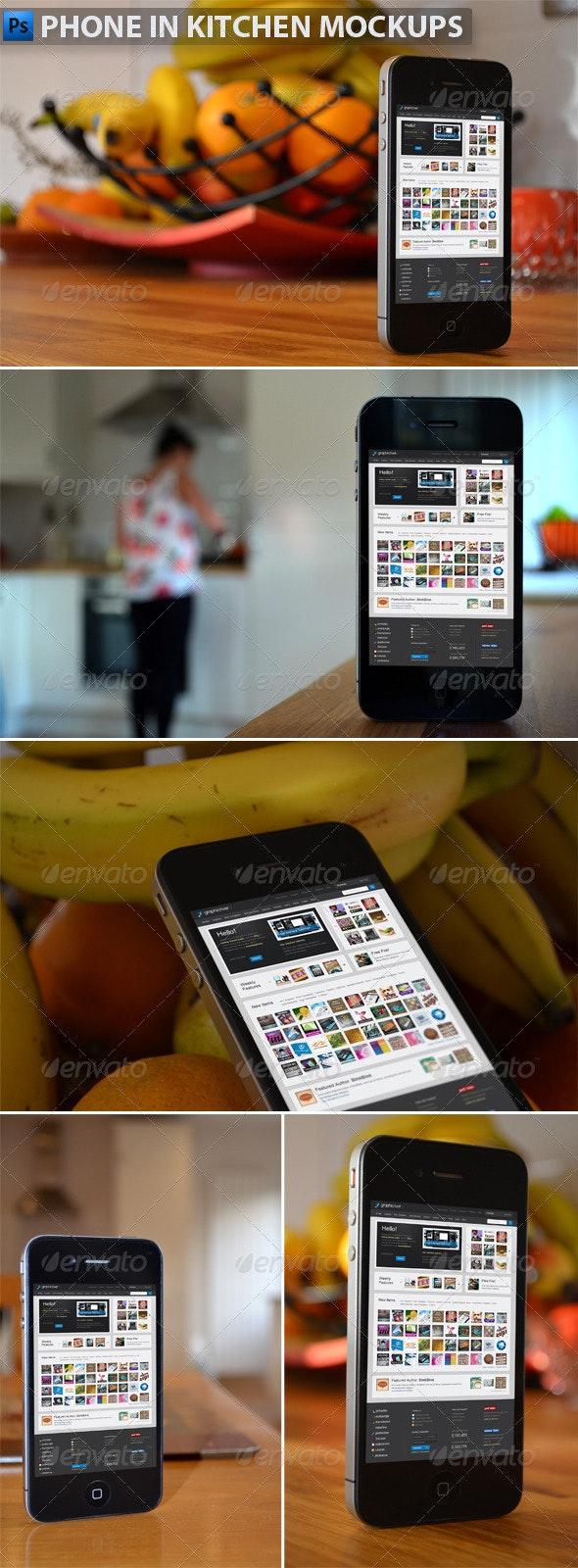 Phone in Kitchen Mock-Ups - Mobile Displays