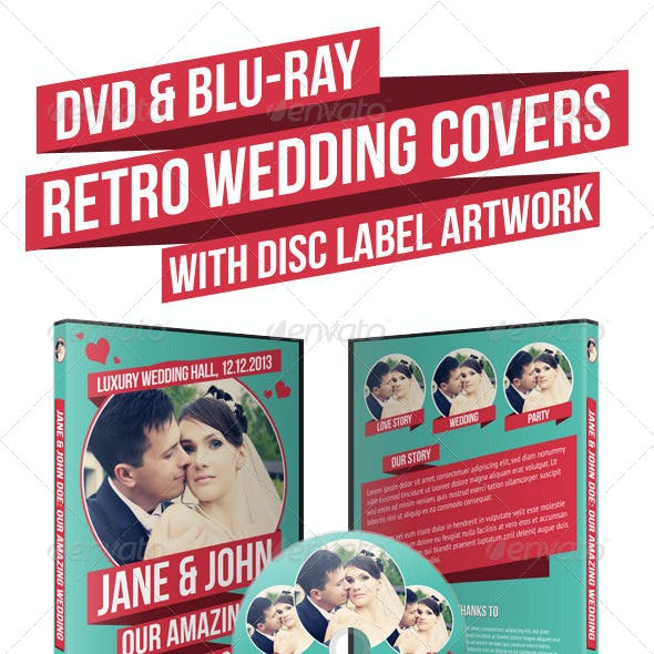 Retro Wedding DVD & Blu-ray Covers With Disc Label