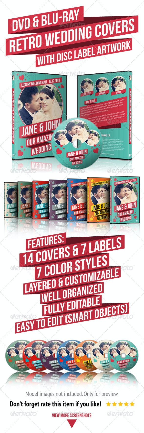 Retro Wedding DVD & Blu-ray Covers With Disc Label - CD & DVD Artwork Print Templates