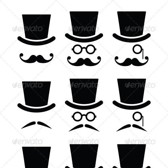 Mustache or Mustache with Hat and Glasses Icons