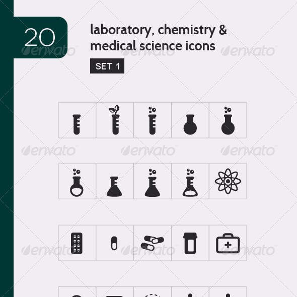 Lab, Chemistry & Medical Science Vector Icons