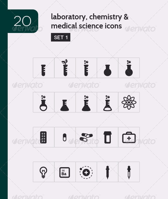 Lab, Chemistry & Medical Science Vector Icons - Man-made objects Objects