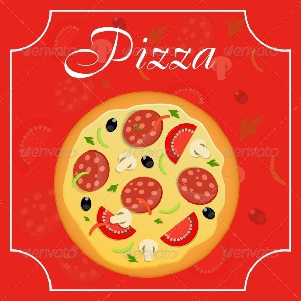 Pizza Menu Template Vector Illustration - Food Objects