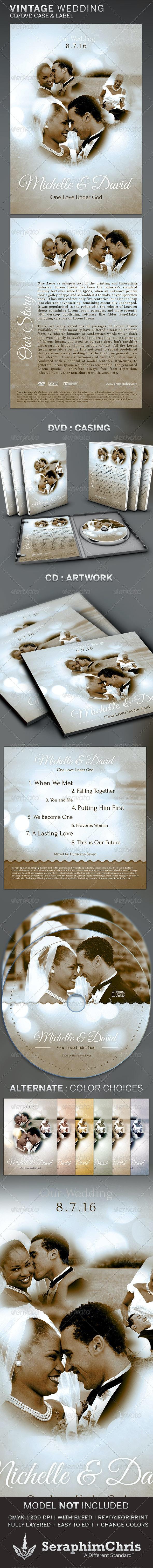 Vintage Wedding: CD/DVD Template - CD & DVD Artwork Print Templates