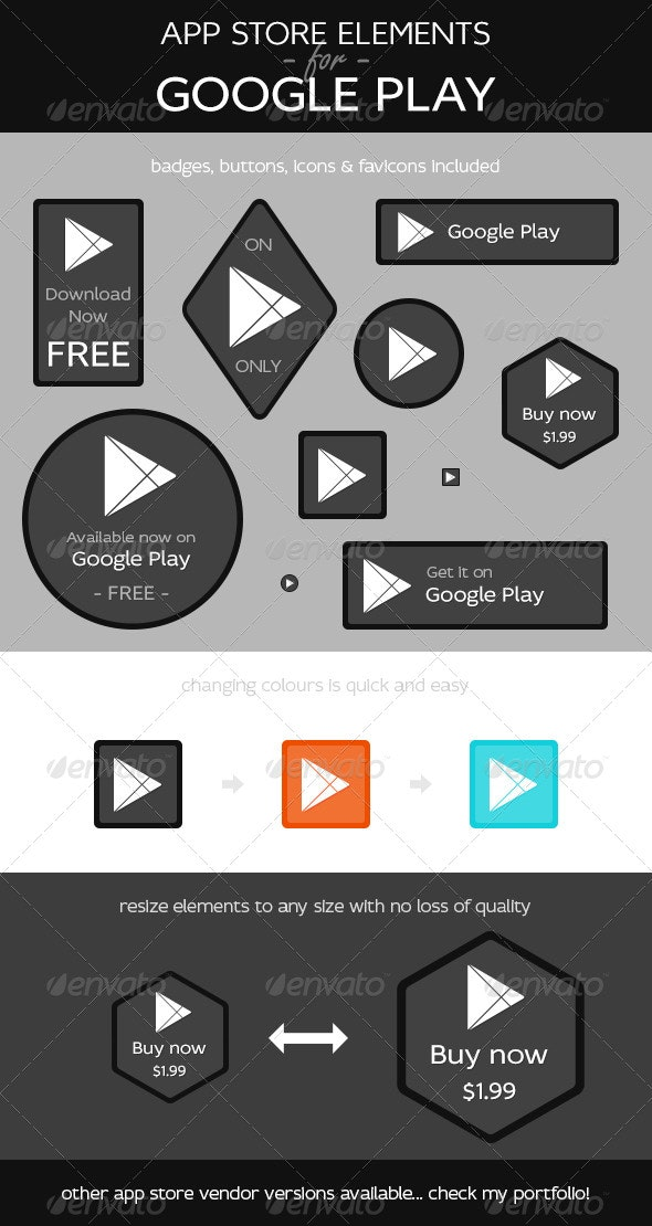 App Store Elements for Google Play - Web Elements