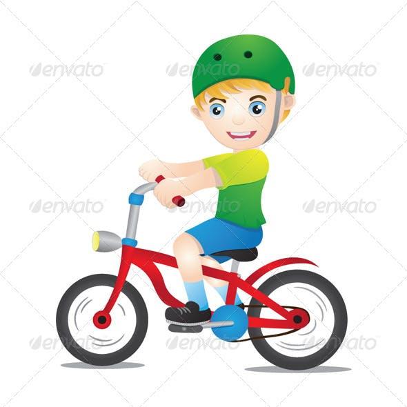 Bicycle Boys Using Helmet