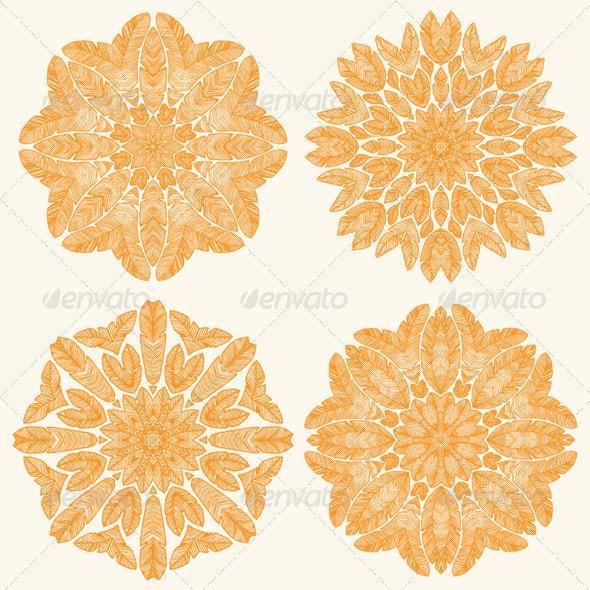 Orange Feathers Mandala. - Decorative Symbols Decorative
