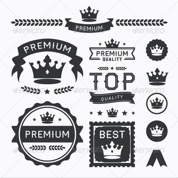 Premium Crown Badges & Vector Element Collection