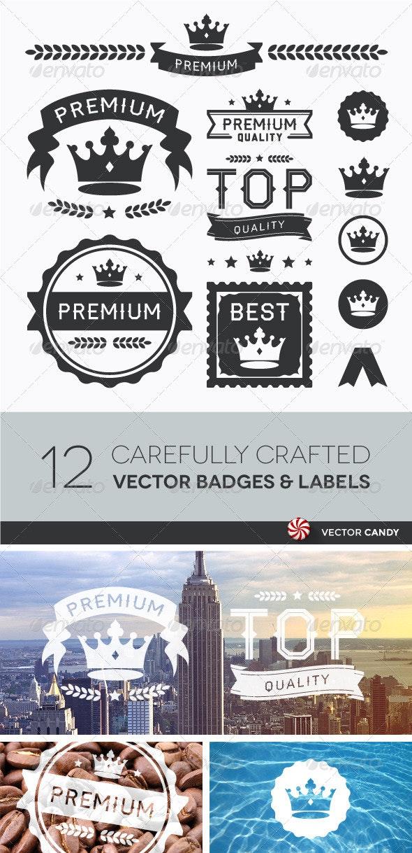 Premium Crown Badges & Vector Element Collection - Vectors