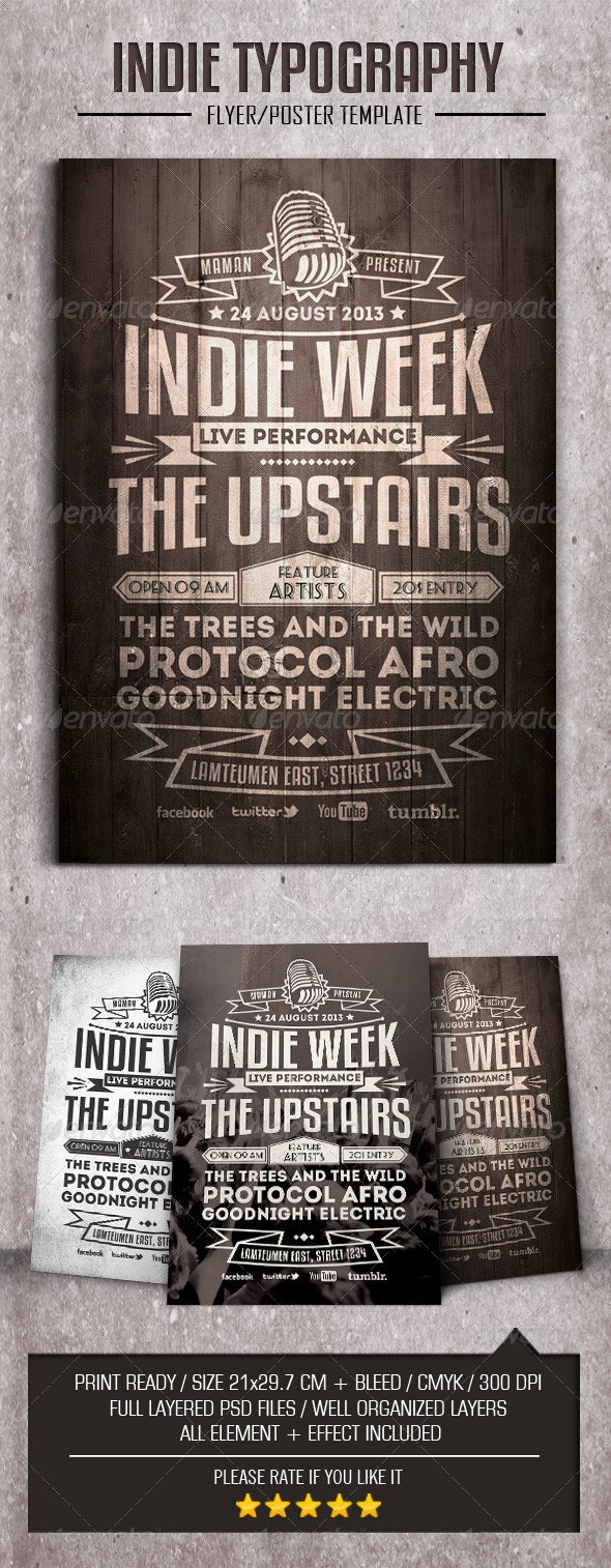Indie Typography Flyer/Poster - Events Flyers