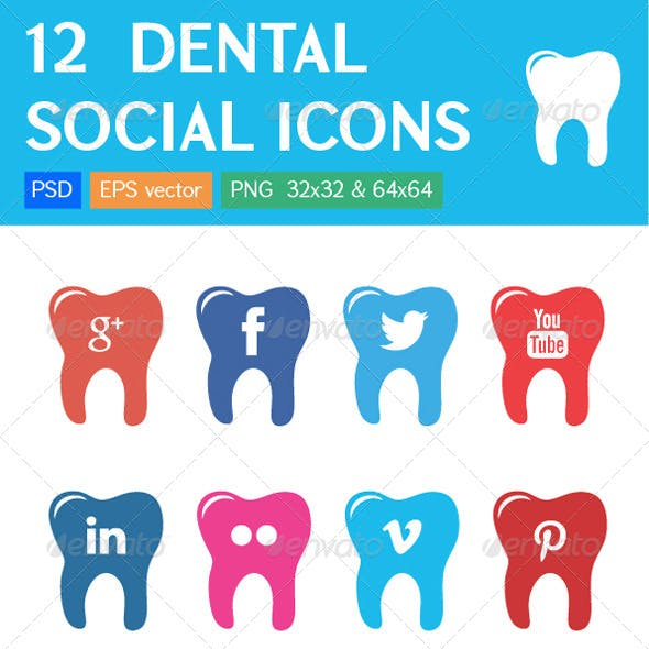 12 Dental Clinic Social Icons