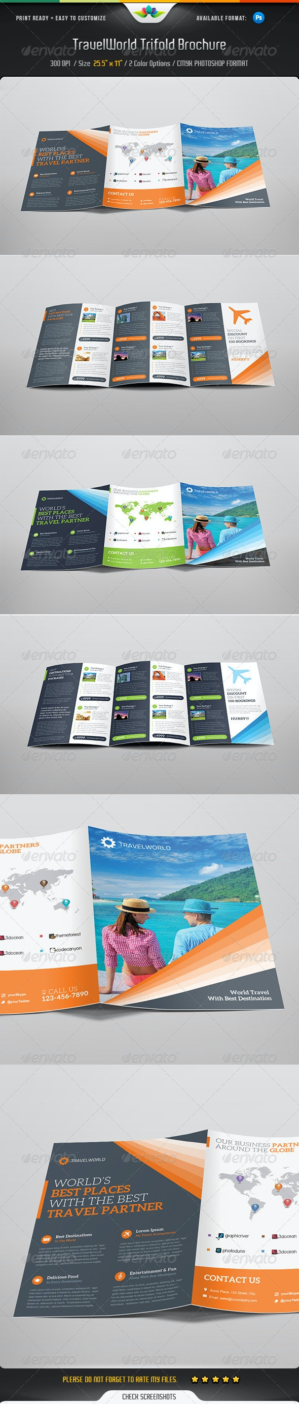 Travelworld Trifold Brochure  - Corporate Brochures