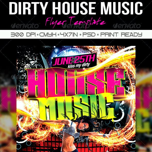 Dirty House Music Flyer Template
