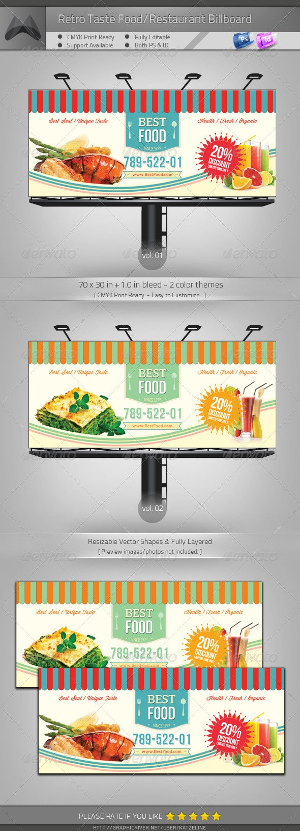 Retro Taste Food/Restaurant Billboard - Signage Print Templates