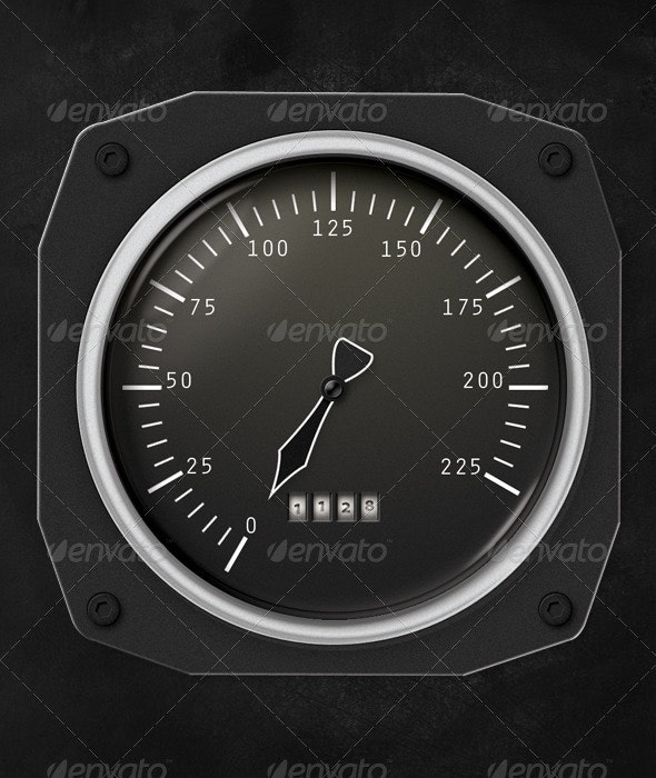 Solid Metal Speedometer - Objects Illustrations