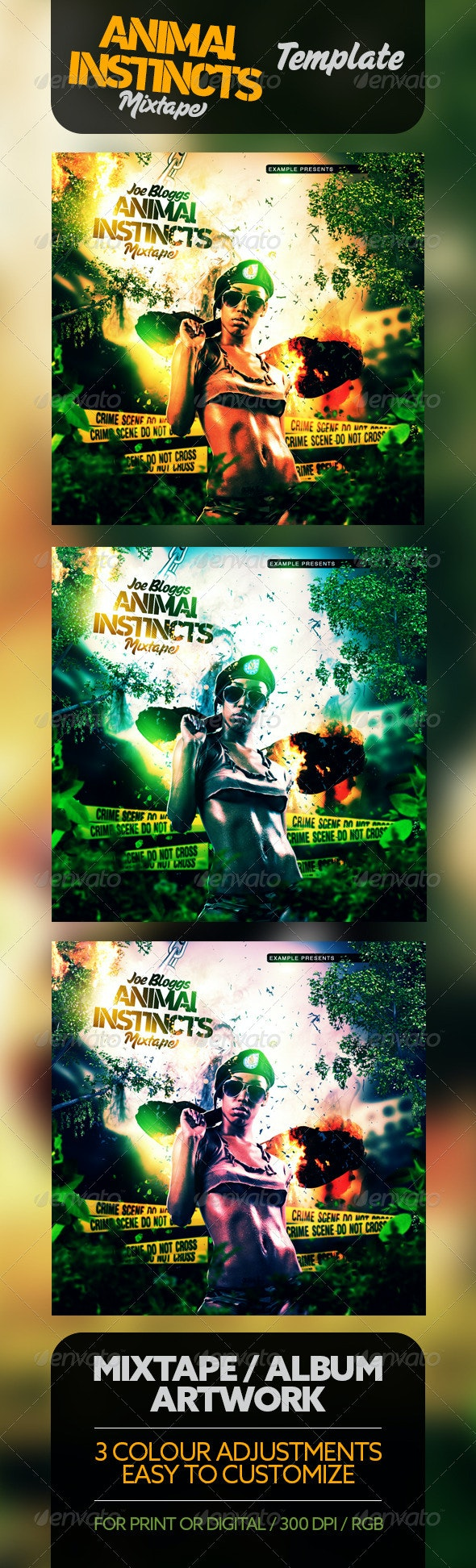 Animal Instincts Mixtape / CD Template - CD & DVD Artwork Print Templates