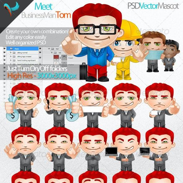Business Man - Photoshop Vector Editable Mascot