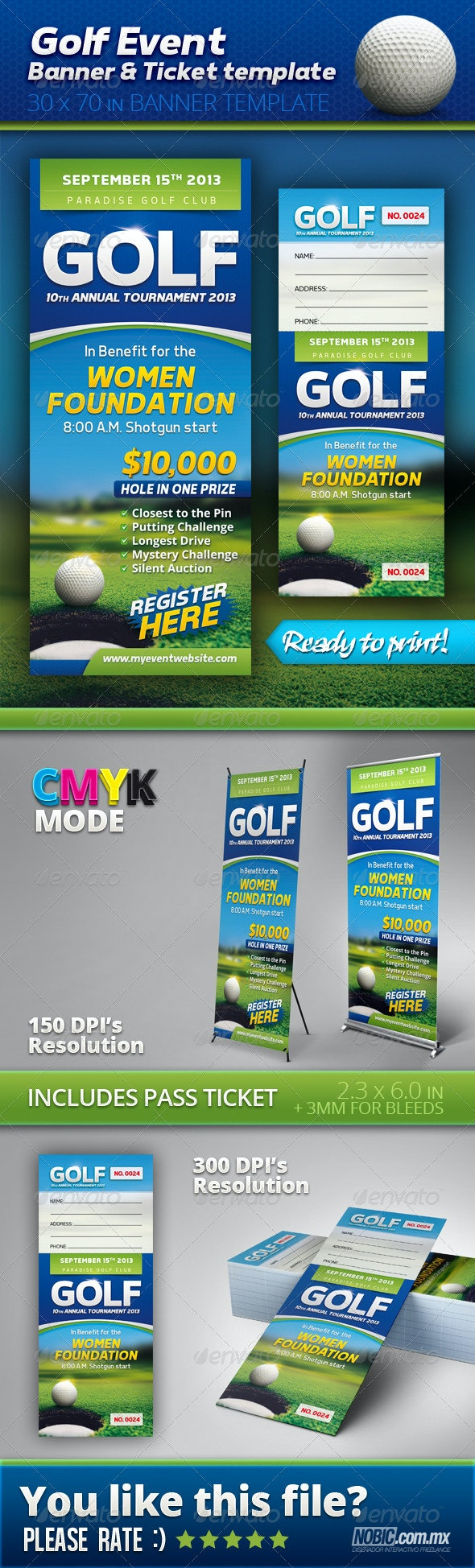Golf Event Banner and Ticket Template - Signage Print Templates