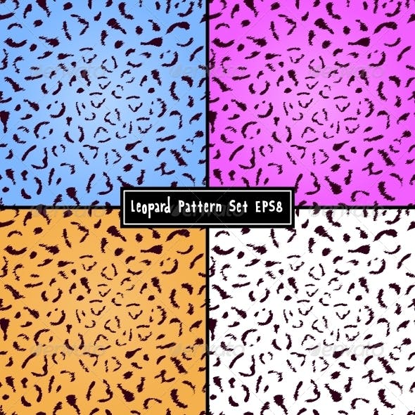 Set of Colorful Leopard Seamless Textures