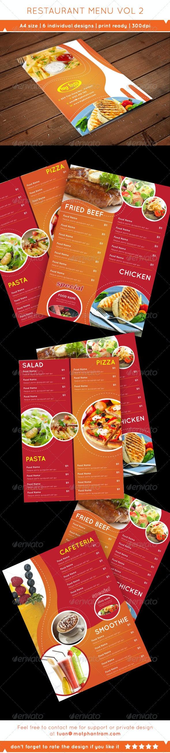 A4 Flyer Food Menu Vol 2 - Food Menus Print Templates