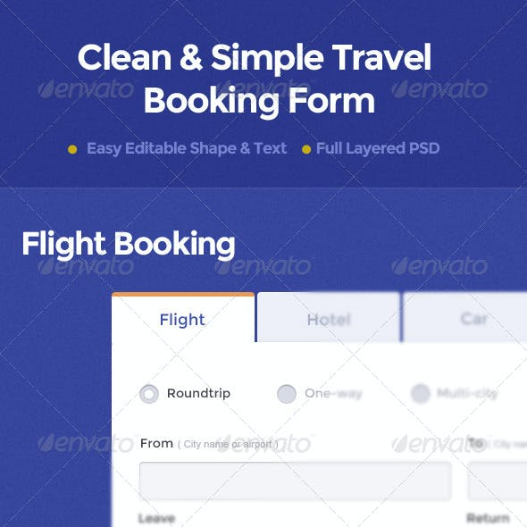 Clean & Simple Travel Booking Form