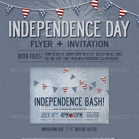 Independence Day Flyer + Invitation