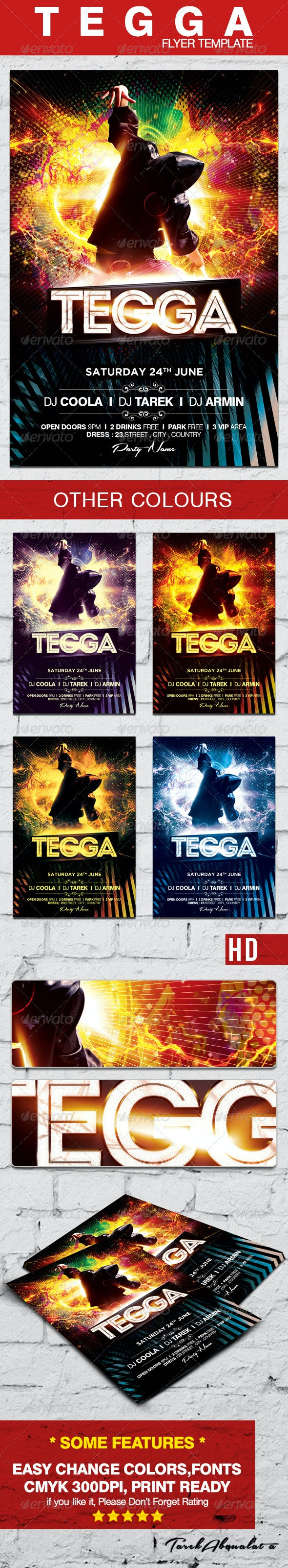 Tegga Flyer Template - Clubs & Parties Events