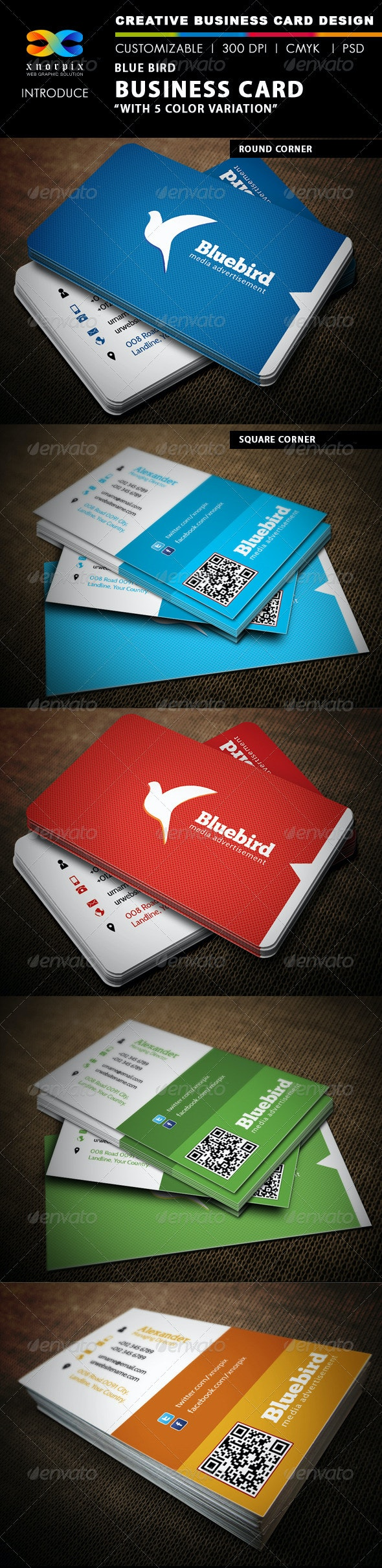 Blue Bird Business Card - Corporate Business Cards