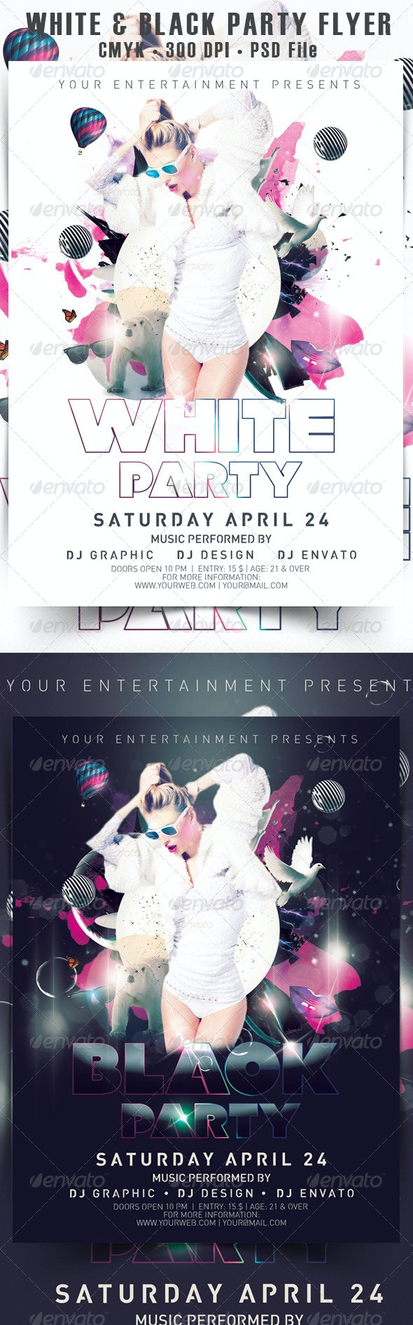 White & Black Party Flyer - Events Flyers