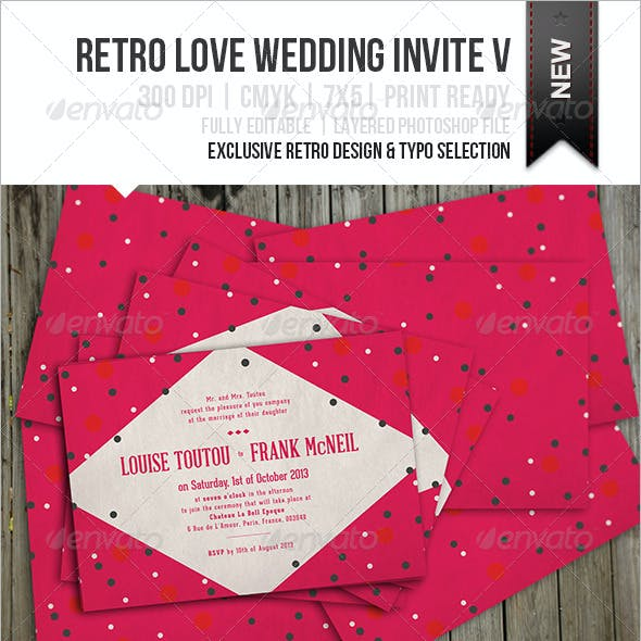 Retro Love Wedding Invite V