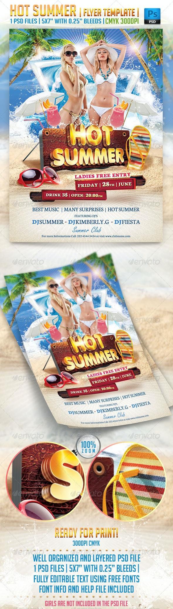 Hot Summer Flyer Template - Clubs & Parties Events
