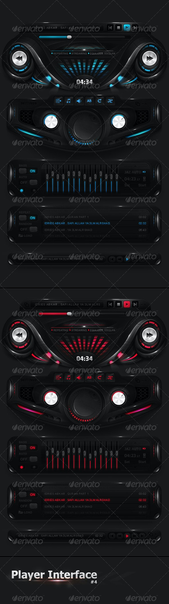 Futuristic Player Interface - User Interfaces Web Elements