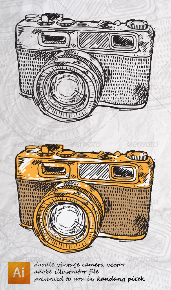 Vintage Camera Doodle Vector - Miscellaneous Characters