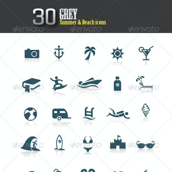 Grey Summer and Beach Icons
