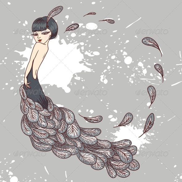 Flapper Girl in a Dress of Feathers