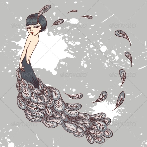 Flapper Girl in a Dress of Feathers - People Characters