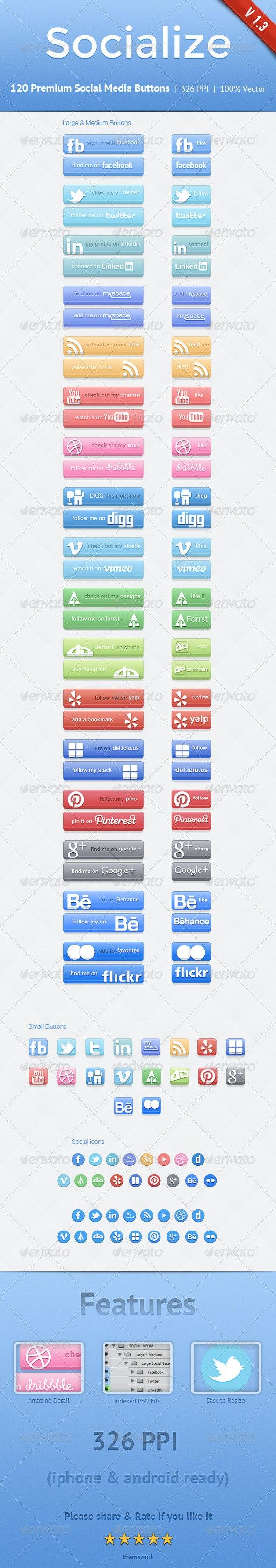 Socialize Social Button Kit - Buttons Web Elements