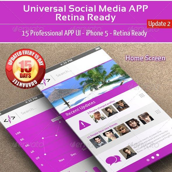 Universal Social Media UI APP - Retina Ready