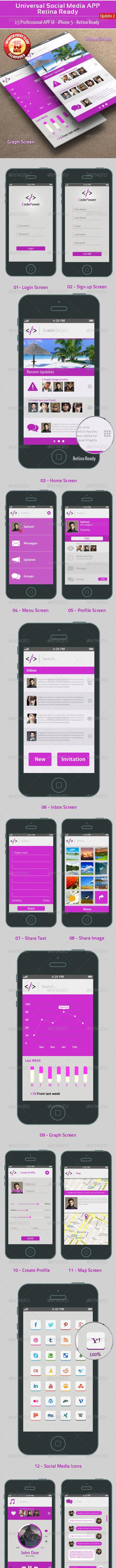 Universal Social Media UI APP - Retina Ready - User Interfaces Web Elements