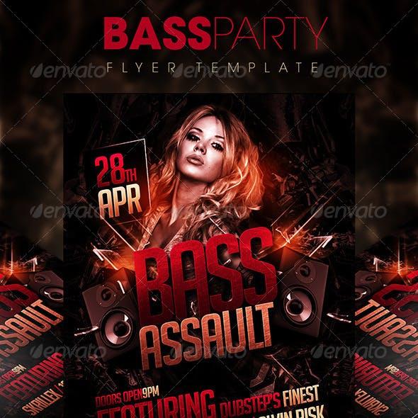 Grunge Bass Party Flyer Template